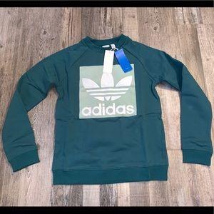 Adidas green velour crewneck sweatshirt